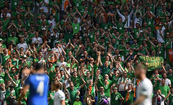 Lyon , France - 26 June 2016; Republic of Ireland supporters during the UEFA Euro 2016 Round of 16 match between France and Republic of Ireland at Stade des Lumieres in Lyon, France. (Photo By Stephen McCarthy/Sportsfile via Getty Images)