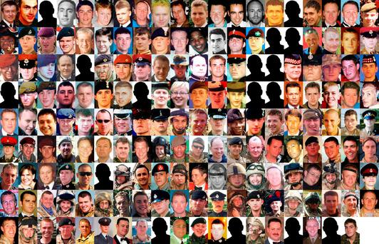 Composite image of the 179 troops that died during the conflict in Iraq. Photo: PA Wire