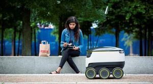 Just Eat pilots a Starship robot to deliver food from its takeaway restaurants on July 5, 2016 in London, England. (Photo by John Phillips/Getty Images for Just Eat )