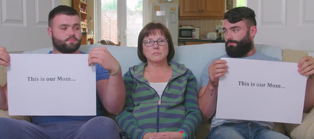 Kathy Ryan who has Early Onset Alzheimer's, and her sons Andrew and Matt get behind the The Alzheimer Society of Ireland's Dementia Care Begins at Home campaign