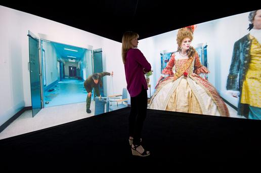 An installation featuring four endlessly looping films set in the same location with different characters inspired by Kubrick's filmography. Photo: Lauren Hurley/PA Wire