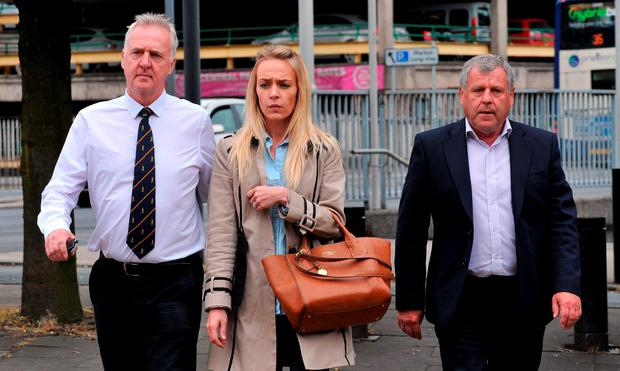 Former husband Garry Hartley, daughter Charlotte Hartley and brother Graham Cook arriving at Preston Crown court for the trial of Sarah Williams who is accused of the murder of Sadie Hartley. PA Wire