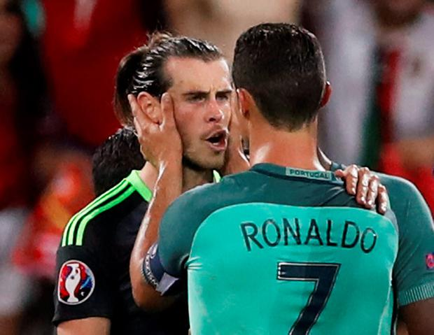Portugal's Cristiano Ronaldo and Wales' Gareth Bale after the game