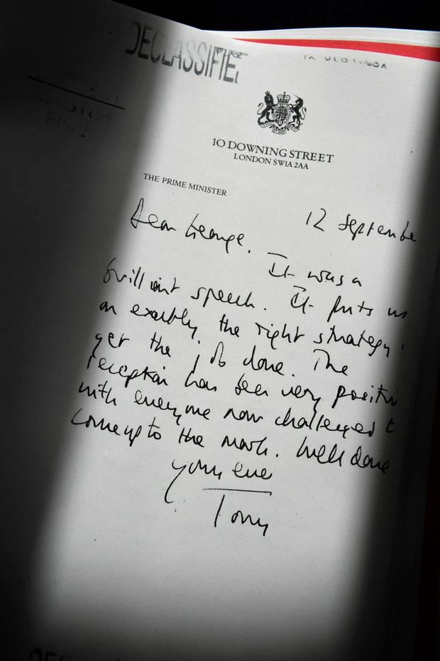 Detail of a declassified handwritten letter sent by Tony Blair to George Bush Photo: REUTERS/Jeff J Mitchell/Pool