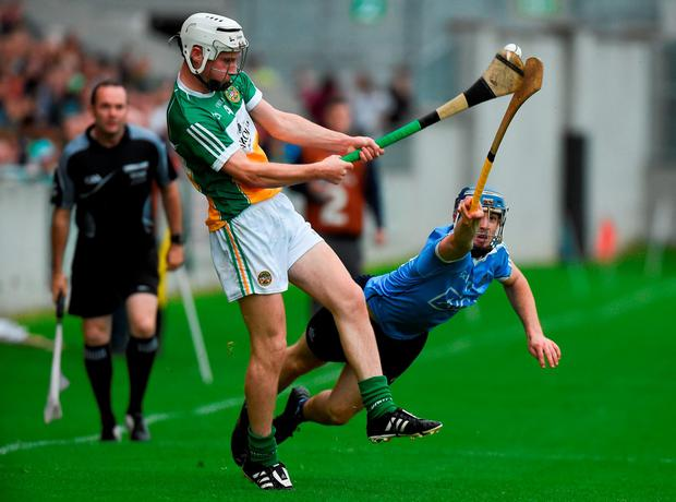 Sean Treacy of Dublin in action against Paddy Delaney of Offaly. Photo by David Maher/Sportsfile