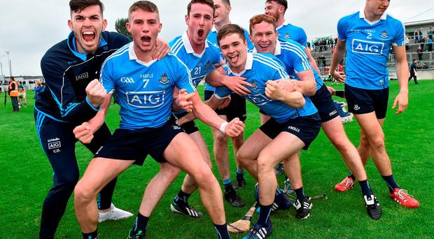 Dublin players celebrate after the Bord Gáis Energy Leinster GAA Hurling U21 Championship Final match between Offaly and Dublin at O'Connor Park