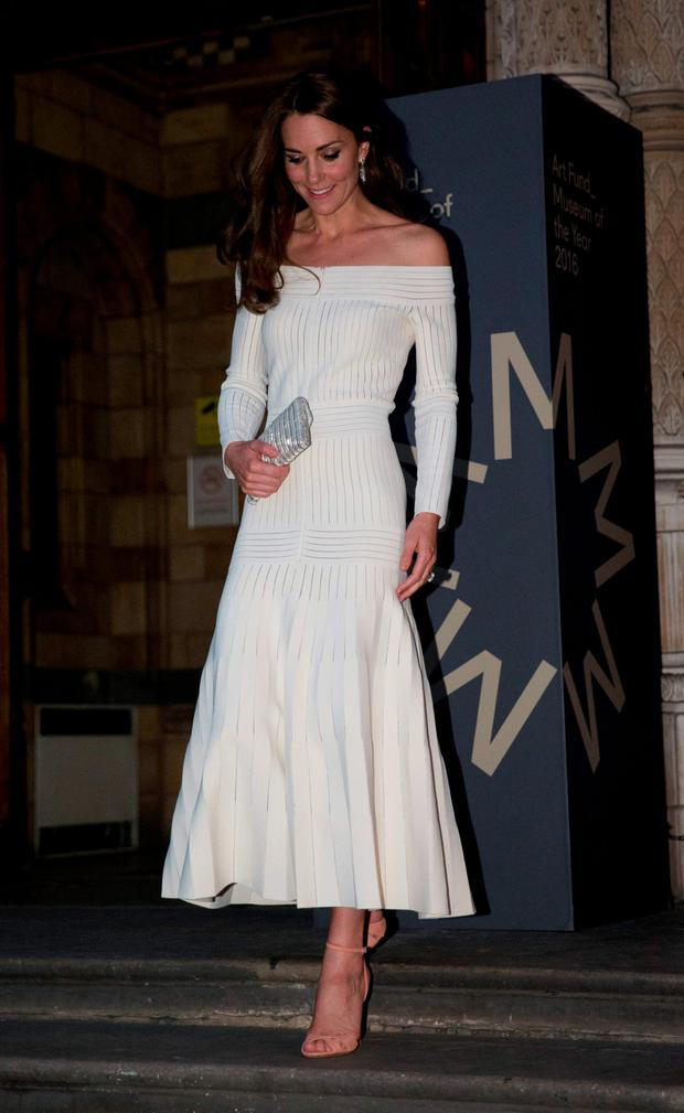 Britain's Catherine, the Duchess of Cambridge, leaves after announcing the Victoria and Albert Museum as the winner of the Art Fund Museum of the Year 2016 prize at a dinner hosted at the Natural History Museum in London