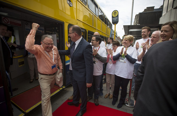 The Dublin Bus lotto winners arrive at Lotto HQ.