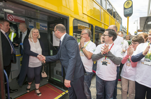 Dublin Bus Euromillions winners arrive at the National Lottery office. Photo: Mark Condren