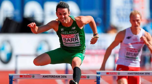 Thomas Barr in action at the Olympic Stadium in Amsterdam, Netherlands. Photo by Brendan Moran/Sportsfile
