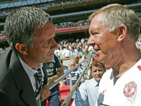 Mourinho and Ferguson greet each other prior to the 2007 Community Shield. Getty