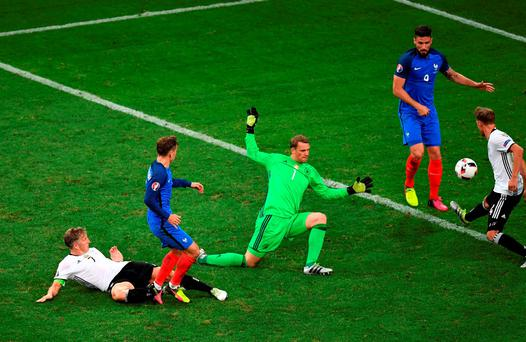 Antoine Griezmann pokes home France's second goal during last night's Euro 2016 semi-final in Marseille. Picture Credit: Laurence Griffiths/Getty Images