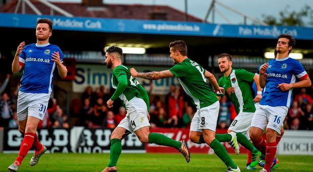 Sean Maguire of Cork City celebrates after scoring his side's first goal of the game during the UEFA Europa League First Qualifying Round 2nd Leg between Cork City and Linfield at Turners Cross in Cork. Photo by Stephen McCarthy / Sportsfile
