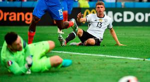Thomas Müller watches his shot go past the post and Hugo Lloris. Picture Credit: Bertrand Langlois/AFP/Getty Images