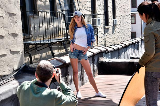 Nina Agdal shoots New Era Cap MLB Campaign on April 13, 2016 in Brooklyn, New York. (Photo by Bryan Bedder/Getty Images for New Era)