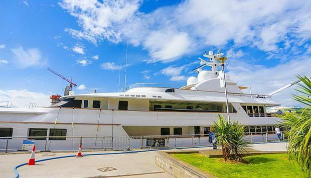 Yacht docked outside the SSE arena in Belfast. Picture: Kevin Scott/Belfast Telegraph