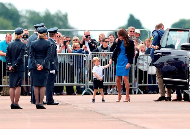 Prince William, Duke of Cambridge, Catherine, Duchess of Cambridge and Prince George arrive for a visit to the Royal International Air Tattoo at RAF Fairford on July 8, 2016 in Fairford, England. (Photo by Chris Jackson/Getty Images)