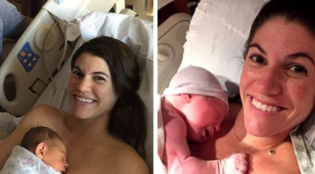 Twins Sarah Mauriz (right) and her twin sister Leah Rodgers (35) gave birth on the same day in different cities