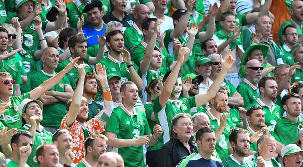 Fans Republic of Ireland during the European Championship match Round of 16 between France and Republic of Ireland at Stade des Lumieres on June 26, 2016 in Lyon, France. (Photo by Jean Paul Thomas/Icon Sport) (Photo by Jean Paul Thomas/Icon Sport via Getty Images)