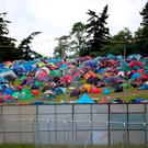 A perimeter fence around the campsite at T in the Park. Picture: Jane Barlow/PA Wire