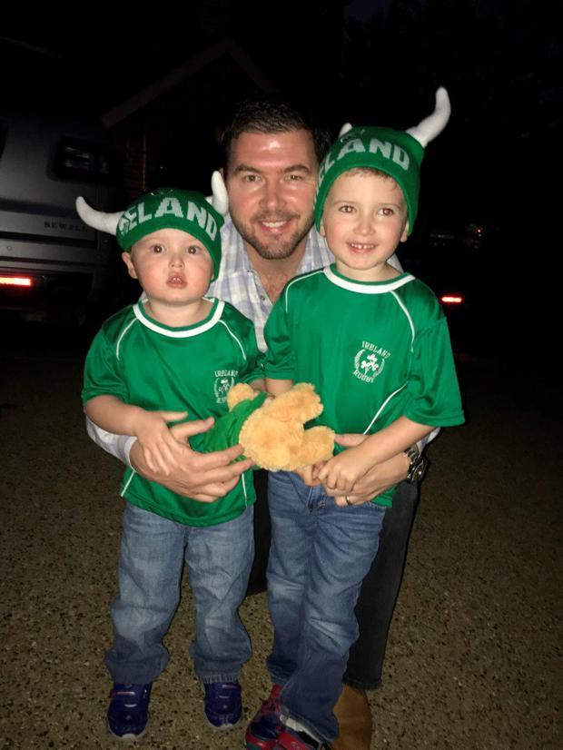 Darren Heffernan and his sons Sean (4) and Craig (2)