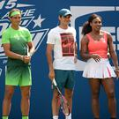 NEW YORK, NY - AUGUST 29: Rafael Nadal, Roger Federer and Serena Williams attend Arthur Ashe Kids Day 2015 at the US Open at USTA Billie Jean King National Tennis Center on August 29, 2015 in New York City. (Photo by Uri Schanker/FilmMagic)