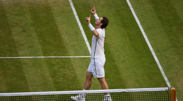 LONDON, ENGLAND - JULY 08: Andy Murray of Great Britain celebrates victory during the Men's Singles Semi Final match against Tomas Berdych of The Czech Republic on day eleven of the Wimbledon Lawn Tennis Championships at the All England Lawn Tennis and Croquet Club on July 8, 2016 in London, England. (Photo by Shaun Botterill/Getty Images)
