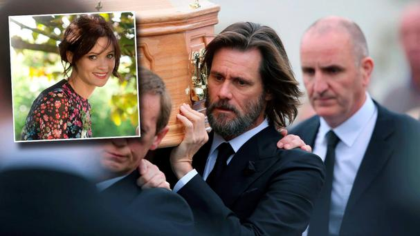 Jim Carrey at the funeral of Cathriona White (inset)