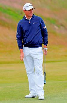 Padraig Harrington of Ireland reacts on the 9th green during the second round of the AAM Scottish Open. Photo: Getty Images