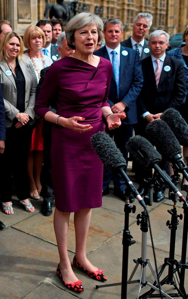 Tory leadership candidate Theresa May speaks to the media in London Photo: BEN STANSALL/AFP/Getty Images