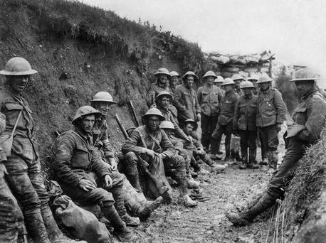 Soldiers of the Royal Irish Rifles pictured during the opening hours of the Battle of the Somme Photo: Royal Engineers No 1 Printing Company / IWM via Getty Images