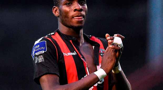 Ismahil Akinade of Bohemians at the end of the game vs Bray Wanderers. Photo: Sportsfile