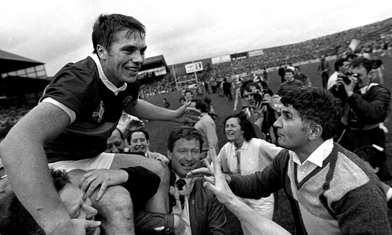 Kerry captain Páidí Ó Sé is held aloft alongside Mick O'Dwyer after victory over Dublin in the 1985 final Picture: Sportsfile