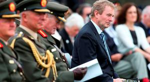 Taoiseach Enda Kenny during a ceremony to mark the Battle of the Somme Centenary at the Irish National War Memorial Gardens in Islandbridge, Dublin Credit: Brian Lawless/PA Wire