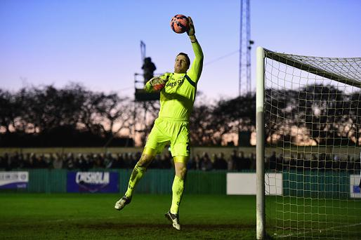 BLYTH, ENGLAND - JANUARY 03: Birmingham goalkeeper Colin Doyle in action during the FA Cup Third Round match between Blyth Spartans and Birmingham City at Croft Park on January 3, 2015 in Blyth, England. (Photo by Stu Forster/Getty Images)