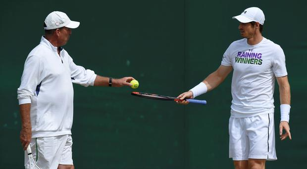 Andy Murray with his coach Ivan Lendl during a practice session. Photo: Toby Melville