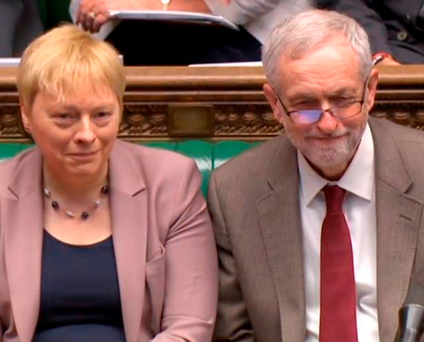Contender: Angela Eagle and Jeremy Corbyn Photo: PA/PA Wire