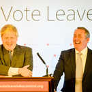 Take leave: Boris Johnson, left, leading the Vote Leave campaign, speaking at an event in Bristol ahead of the Brexit referendum, flanked by former Defence Secretary Liam Fox Photo: Ben Birchall/PA
