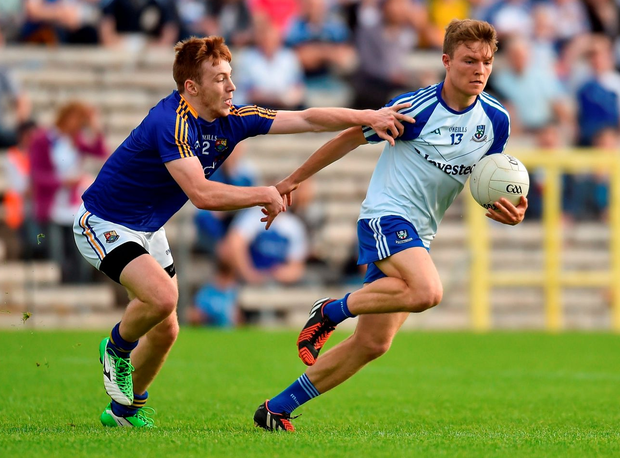 9 July 2016; Conor McCarthy of Monaghan in action against Cian Farrelly of Longford during the GAA Football All-Ireland Senior Championship - Round 2B match between Monaghan and Longford at St Tiernach's Park in Clones, Monaghan. Photo by Paul Mohan/Sportsfile