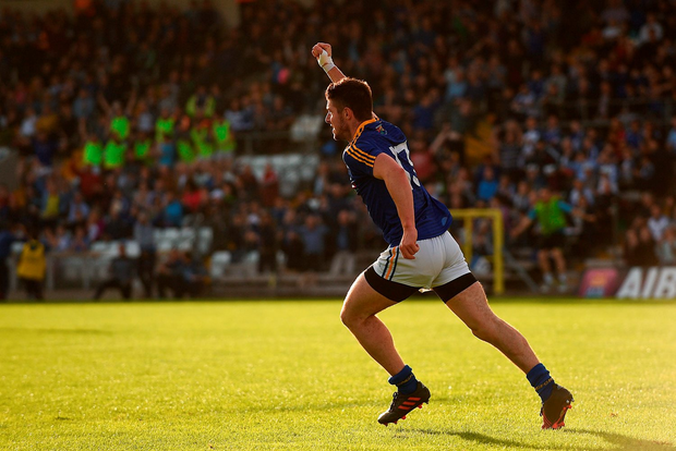 9 July 2016; Robbie Smith of Longford celebrates after scoring his side's second goal during the GAA Football All-Ireland Senior Championship - Round 2B match between Monaghan and Longford at St Tiernach's Park in Clones, Monaghan. Photo by Paul Mohan/Sportsfile