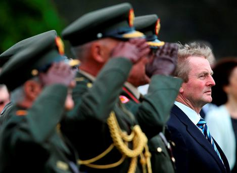 Taoiseach Enda Kenny during a ceremony to mark the Battle of the Somme Centenary at the Irish National War Memorial Gardens in Islandbridge, Dublin Photo: Brian Lawless/PA Wire