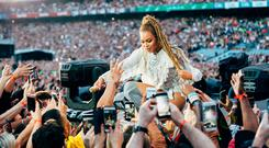 Beyonce performs during the Formation World Tour at Croke Park Stadium on Saturday, July 9, 2016, in Dublin. (Photo by Andrew White/Invision for Parkwood Entertainment/AP Images)
