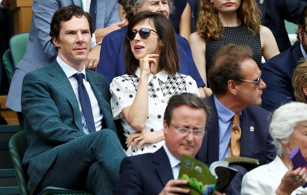 Benedict Cumberbatch in the royal box on centre court with his wife Sophie Hunter at Wimbledon 2016