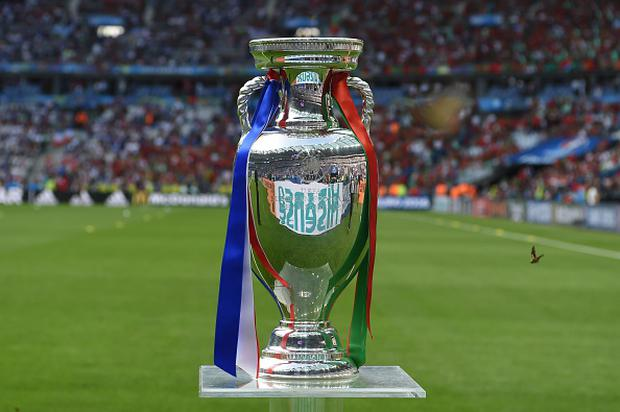 A photo taken on July 10, 2016 shows the Euro 2016 trophy ahead of the final football match between Portugal and France at the Stade de France in Saint-Denis, north of Paris. / AFP / PATRIK STOLLARZ (Photo credit should read PATRIK STOLLARZ/AFP/Getty Images)