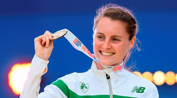 Ciara Mageean proudly shows off her bronze medal after finishing third in the final of the women's 1500m in Amsterdam. Photo: Sportsfile