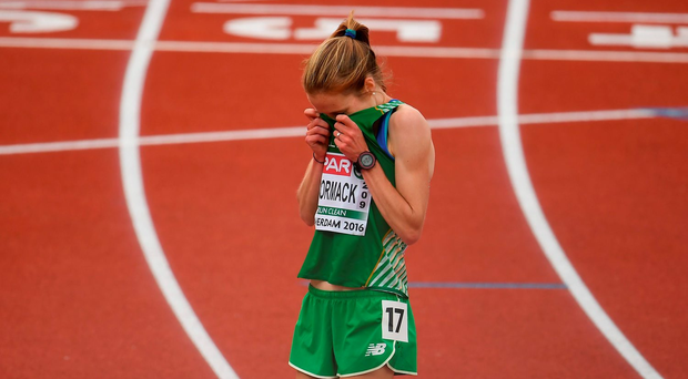 Fionnuala McCormack shows her disappointment after finishing fourth at the European Championships. Photo: Sportsfile