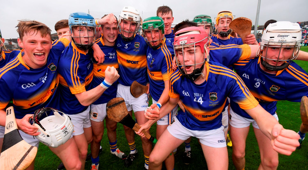 Tipperary players celebrate their victory against Limerick at the Gaelic Grounds. Photo by Stephen McCarthy/Sportsfile
