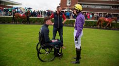 Robbie McNamara with jockey Conor Brassil after Chadic's victory at Cork. Photo: Patrick McCann