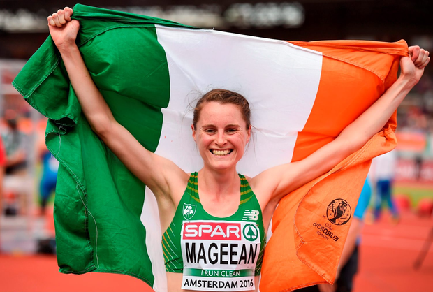 Ciara Mageean celebrates winning a bronze medal in the women's 1,500m final at the European Athletics Championships in Amsterdam. Photo: Brendan Moran/PA
