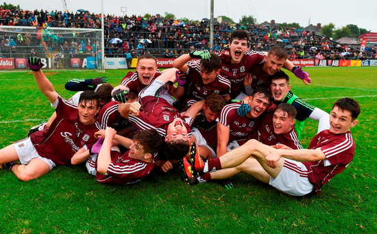 Galway players celebrate their Connacht MFC victory over Mayo. Photo by Paul Mohan/Sportsfile